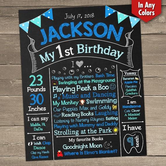 First Birthday Chalkboard Boy 1st Birthday Milestone