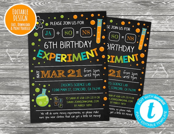 science birthday invitations science birthday party science etsy