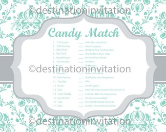 bridal shower game candy match digital printable answer key included