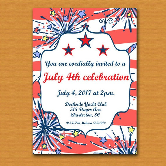 july 4th invitation 4th of july invite 4th of july party memorial