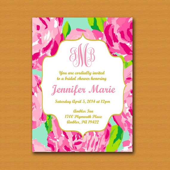 Lilly Pulitzer Inspired Invitation Monogrammed Graduation