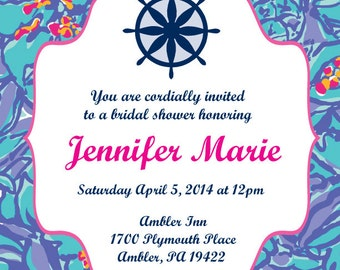 SALE Lilly Pulitzer Inspired Invitation, Printable, Customizable