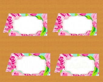 INSTANT DOWNLOAD, Food tent cards, Blank, Lilly Pulitzer, Printable