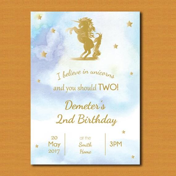Unicorn Party Invitation Invite 2nd Birthday Kids