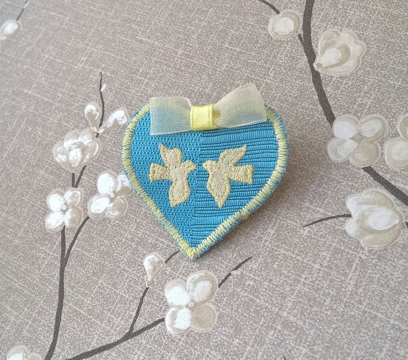 Brides Something Blue and Old Love Doves Charm Pin Birds image 0