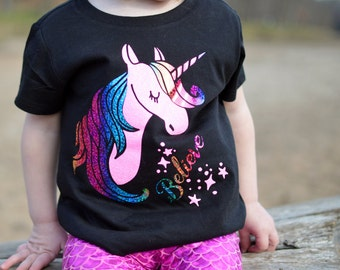 Believe in Unicorns Glitter Shirt, Tote, Hoodie - Many Styles to Choose From - Baby, Infant, Toddlers, Girls, Women, Men, Unisex