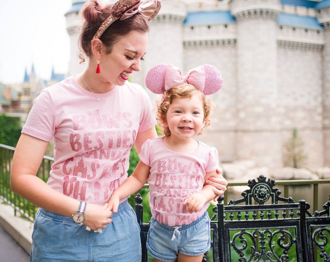 Featured listing image: Bows Besties And Castles Oh My! Glitter Tank, Tee, Shirt - Many Styles to Choose From - Sizes for infants to adults