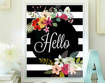 Hello printable flower