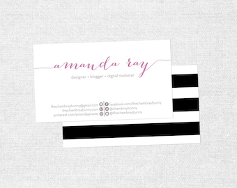 Custom Business Card - Chevron OR Stripe - Black and White & Other Colors - Customizable  - PRINTABLE / DIY