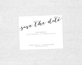 Wedding Save the Date Post Card, Silver & White Engagement, Modern Wedding - Contemporary Design - PRINTABLE / DIY