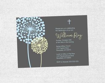 Cotton Blossom Blue & Yellow Baby Baptism / Dedication Announcement Invite Christian, Catholic, Lutheran - Customizable - PRINTABLE / DIY