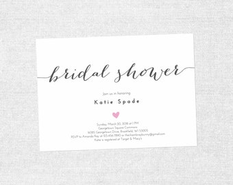 EDIT YOURSELF: Simple Heart Bridal Shower Printable 5x7 Invitation, DIY, Editable, Bridal Shower Invite, Instant Download