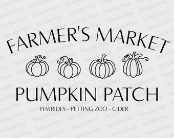 Fall Decor - Farmer's Market Pumpkin Patch - 4 Hand-Drawn Pumpkins - Hayrides - Petting Zoo - Cider