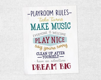 Playroom Rules Art Print 16x20
