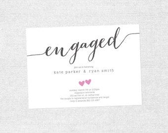 Bridal Shower Invite, Heart Shower Invite, Simple Modern Bridal Shower Invite, Couples Shower, Engagement - Customizable  - PRINTABLE / DIY