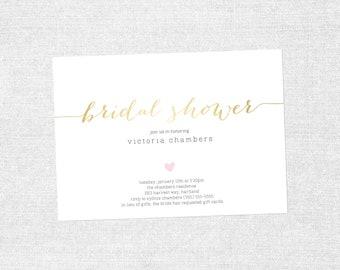 Your Custom Colors - Bridal Shower Simple Heart Invite - PRINTABLE / DIY