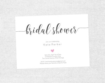 Bridal Shower Simple Heart Calligraphy Invite - PRINTABLE / DIY