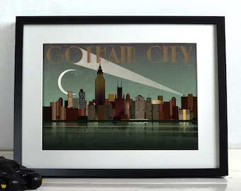 Gotham Cityu0027s Batman Comic Book Superhero New York City Poster Wall Art  Hanging Print Home Décor