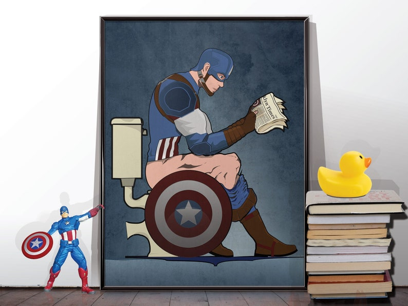 Superhero Captain America On the Toilet Bathroom Restroom Wall image 0