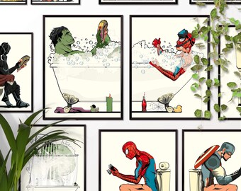 Superheroes bathroom poster set. Comic book Superhero hero on the Toilet Bathroom Restroom Wall Art Hanging Print Home Décor Humour