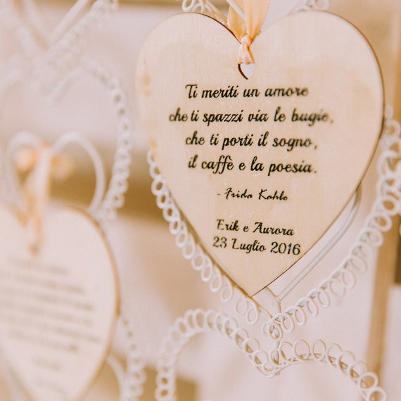 Wedding Favors Wooden Hearts With Customizable Phrases Etsy