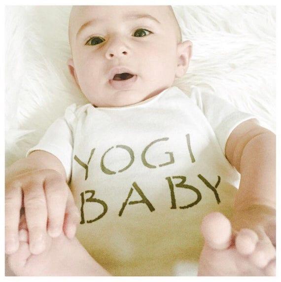 Baby Onesie / Organic Cotton / Hand Printed /Yogi Baby