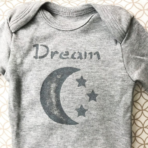 Baby Onesie / Organic Cotton / Hand Printed / Dream Baby