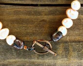 Rustic Pearl Bracelet