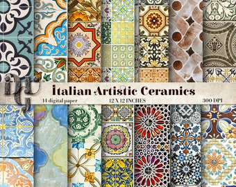 ITALIAN Ceramics Tiles Digital Paper Pack Traditional FLOOR And WALL Sheet Background Testure 14 Papers Instant Download 209