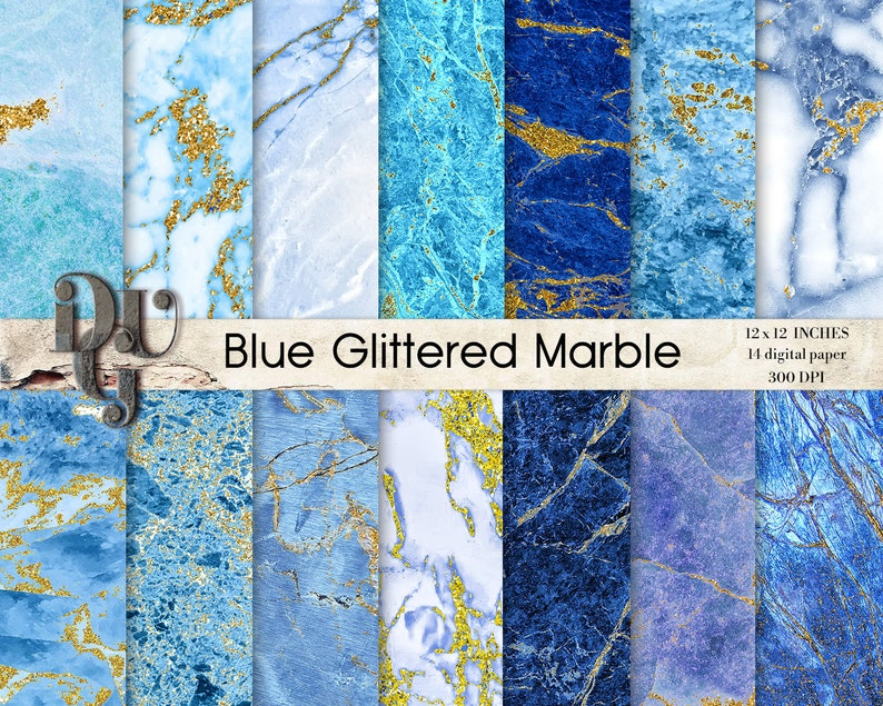 photograph regarding Decorative Paper Printable known as BLUE GOLD MARBLE electronic paper pack. Marble Artwork with gold glitter Sbook paper. Marble paper Image Backdrop. Ornamental paper printable