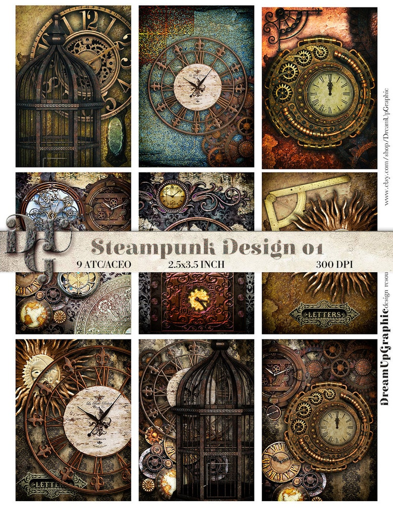 Steampunk Aceo 25 X 35 Zoll 635 X 889 Cm Steampunk Etsy