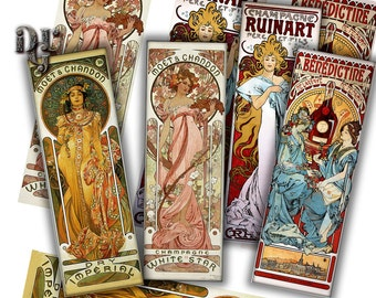 Bookmarks Digital Collage Advertising by Mucha Collage Sheet Printable Download Journaling Ephemera Printable Images Digital Download S021