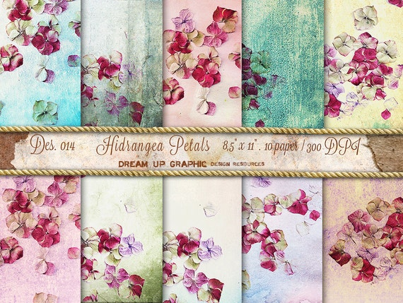Digital Paper Shabby Chic With Hydrangea Petals Vintage Etsy
