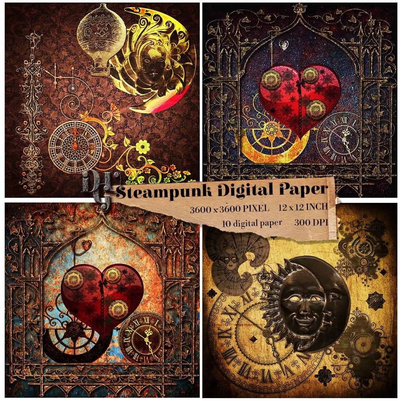 Steampunk Digital Paper Vintage 10 Digital Papers Old Etsy