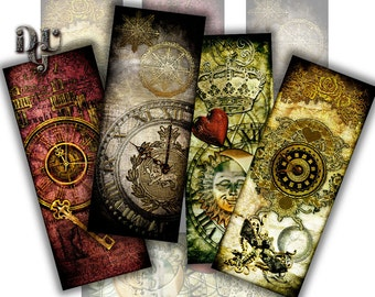 STEAMPUNK Bookmarks Digital Collage Victorian Collage Sheet printable sheet Instant Download Journaling Scrapbooking Book Lovers S_003