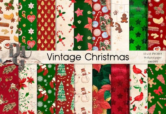 12 Jpg files. Retro digital paper Vintage christmas paper pack