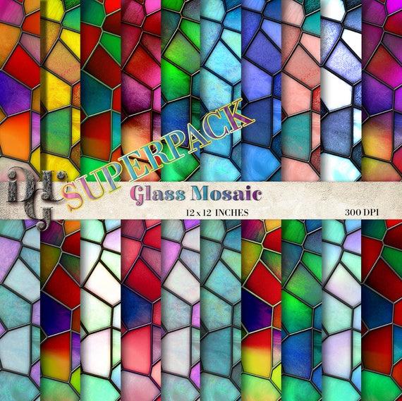 Glasmosaik Glasmosaik auf digitale Papier-20 Blätter sortiert