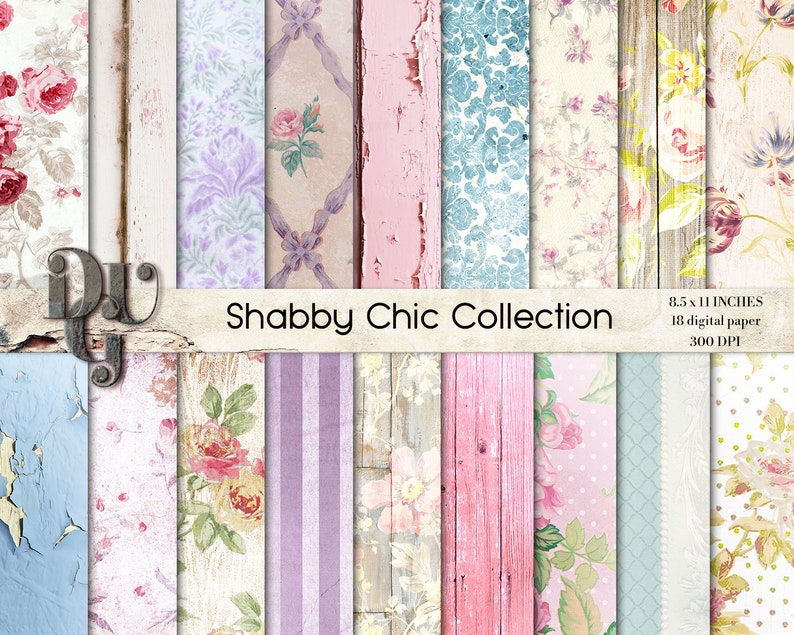 Carta Digitale Shabby Chic Fiori Shabby Chic Legno Shabby Chic Etsy