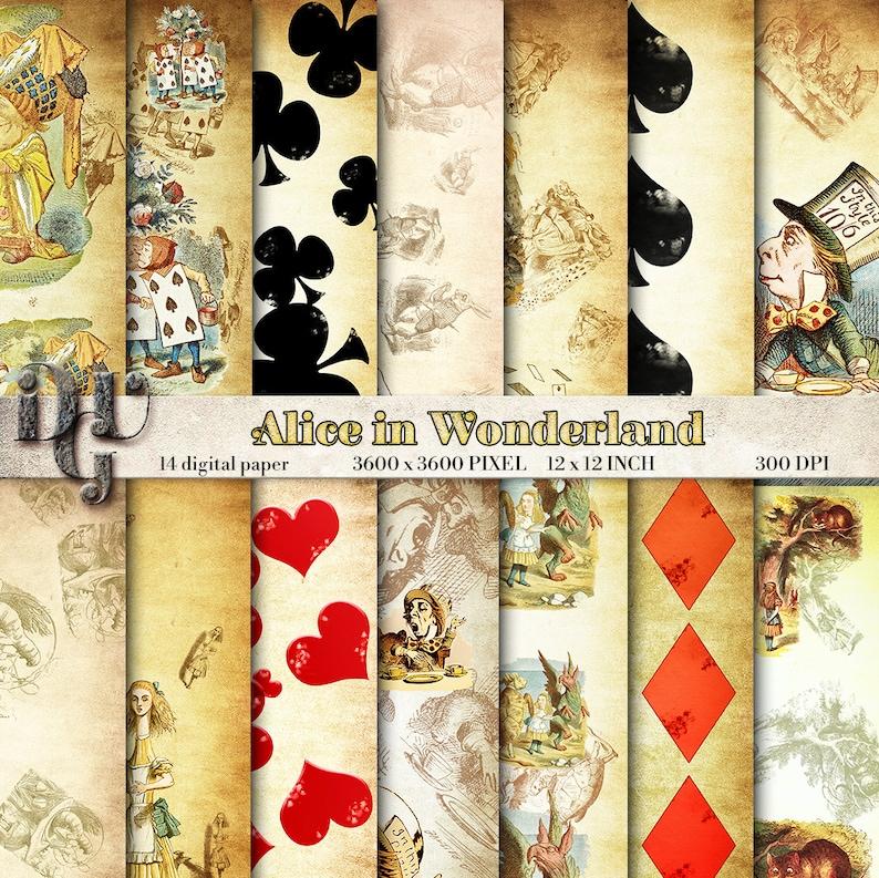 fedcbce76008 Alice in Wonderland digital paper pack. Vintage illustration
