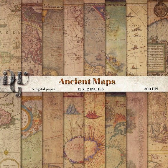 Antique maps digital paper ancient maps 16 vintage maps world etsy image 0 gumiabroncs Gallery