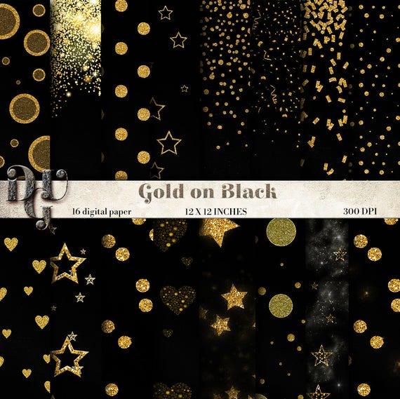Oro E Nero Carta Digitale Con Glitter Dorati Su Sfondo Nero 16 Fogli Party Inviti Regali Scrapbooking Ad Alta Definizione 177