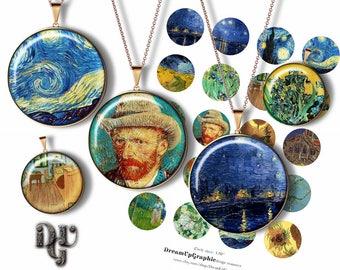 "VAN GOGH Digital Collage Sheets -  Fine Art Paintings Van Gogh Bottle Cap 1 inch 1"", 1.25"", 1.5"" 30, 20 mm round pendants printable C034"