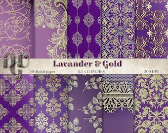 Golden Paper and Lavender scrapbook paper, Digital Gold and Lavander Paper, Gold Foil, Gold Digital Paper, Gold Texture Instant Download 124