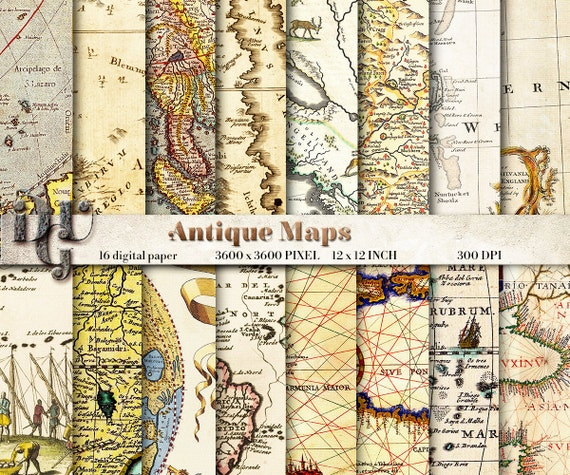 Antique maps digital paper old maps vintage maps old world map antique maps digital paper old maps vintage maps old world map vintage paper pack vintage background paper texture instant download 36 from dreamupgraphic gumiabroncs Image collections