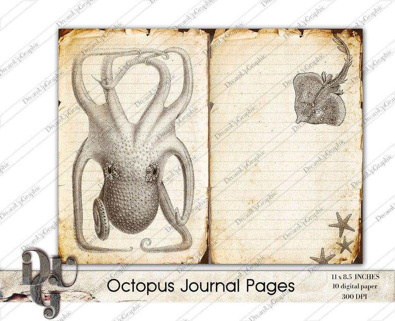 Victorian paper printable background Printable Journal Pages Victorian Octopus Instant download Vintage ephemera Paper Craft Supplies