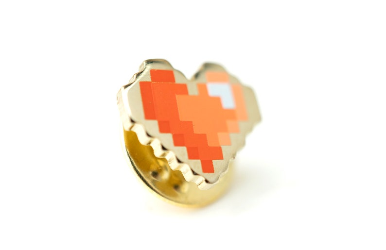 Pixel Heart Enamel Pin  Red Gradient Enamel and Gold Plated image 0