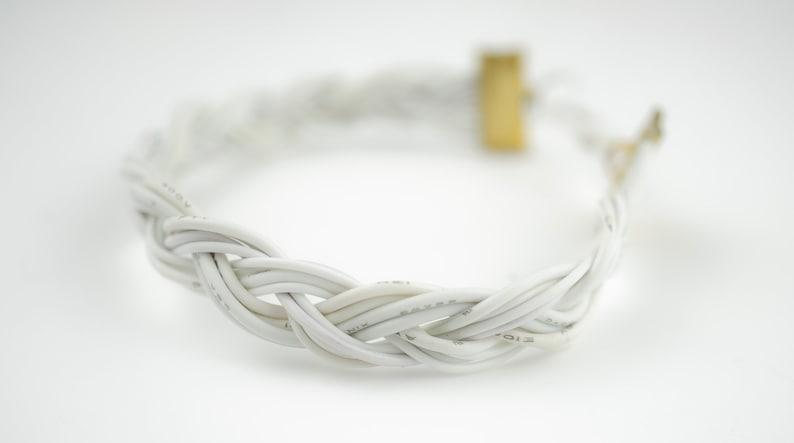 White Braided Bracelet Vegan Eco Friendly Computer Wire image 0