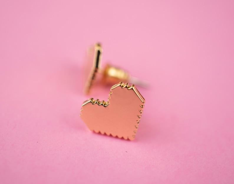 Gold Pixel Heart Stud Earrings Zelda Gamer Jewelry Geek Gift image 0