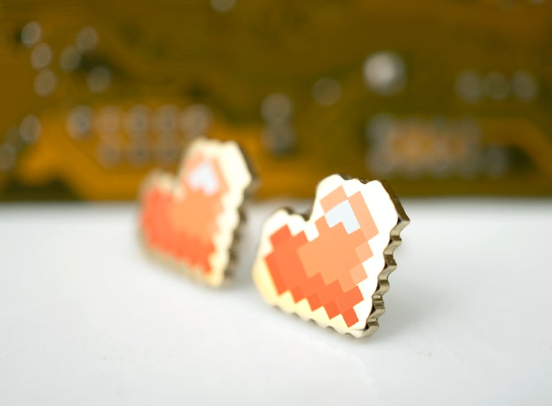 Pixel Heart Stud Earrings  Red Gradient Enamel and Gold image 0