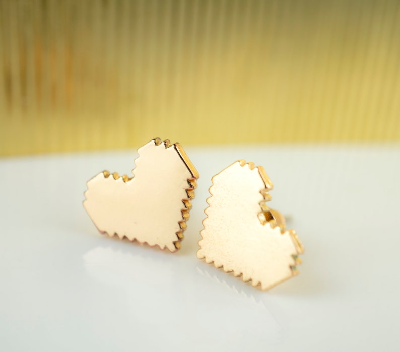 Gold Pixel Heart Stud Earrings Zelda Gamer Jewelry Geek Gift image 0